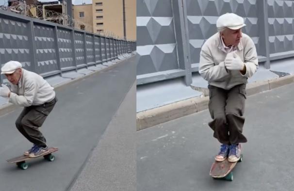 Skater ruso de 73 años