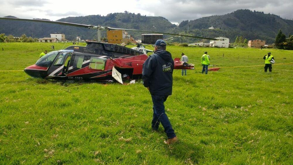Helicóptero accidentado en cerca a Chía