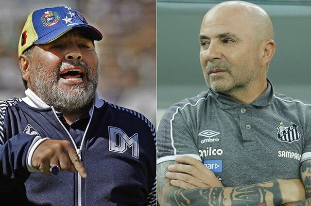Diego Armando Maradona (QEPD) y Jorge Sampaoli, actual director del Olympique de Marsella