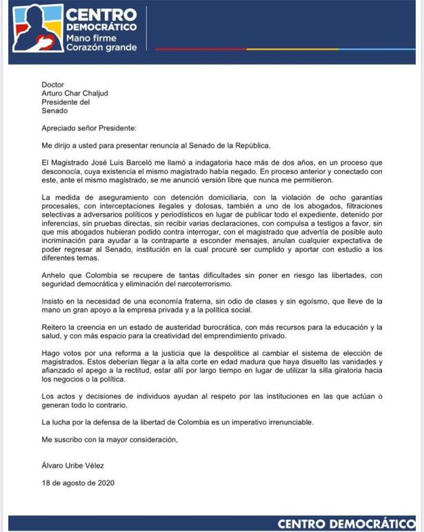 CARTA DE RENUNCIA ÁLVARO URIBE VÉLEZ.jpeg