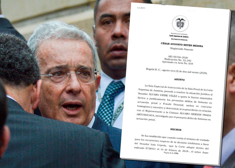 373787_Álvaro Uribe - auto de la Sala de instrucción de la Corte Suprema // Imágenes: AFP, Rama Judicial