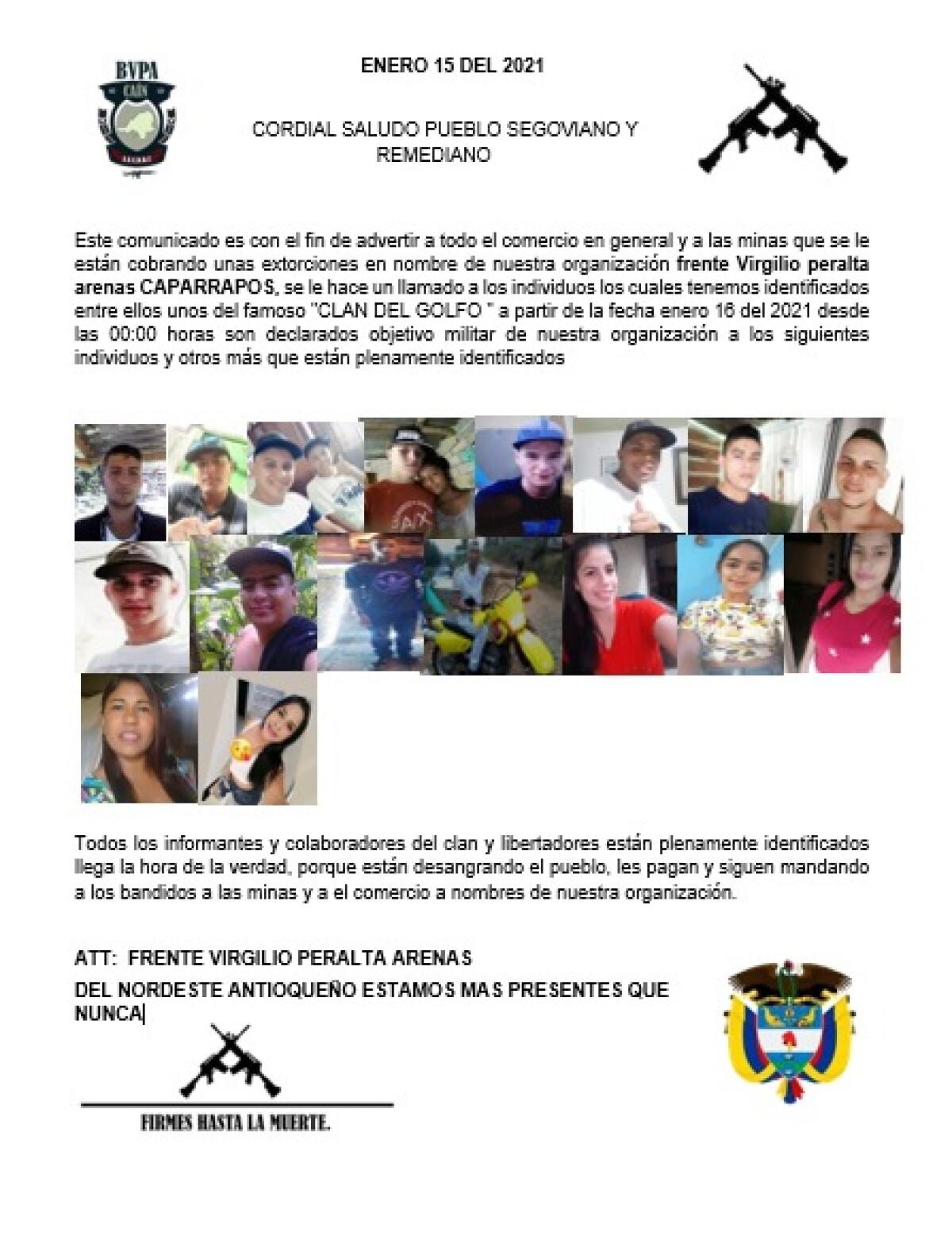 Panfleto de amenaza a jóvenes en Segovia y Remedios Antioquia