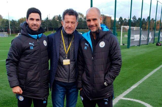323217_Juan Carlos Osorio junto a Mikel Arteta y Pep Guardiola