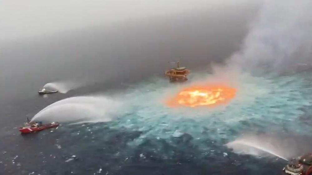 fuga de gas en ducto submarino se produjo incendio en golfo de México