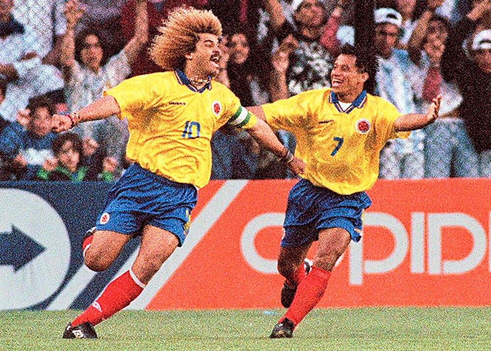 Anthony de Ávila y el Pibe Valderrama en las eliminatorias de 1997
