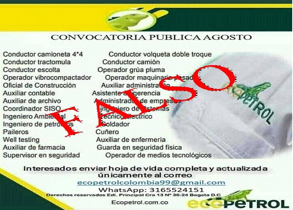 375521_BLU Radio: Falsa Convocatoria Ecopetrol / Foto: Suministrada