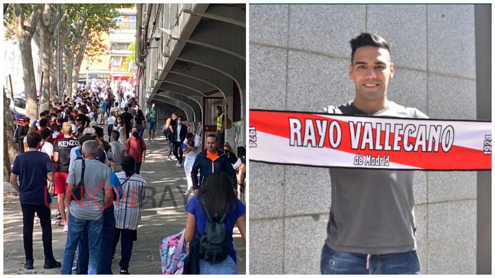 Largas filas para la presentación de Falcao García, en Rayo Vallecano