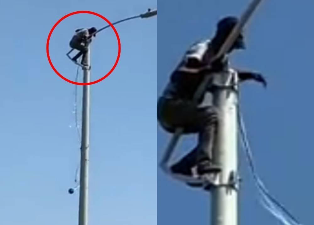 Cayó 'Spiderman', ladrón del alumbrado público cuyo video se hizo viral en redes