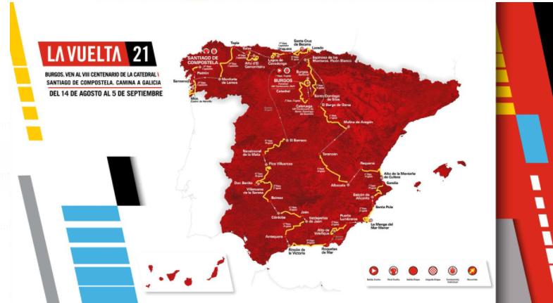 El recorrido de la Vuelta a España para la edición de 2021.