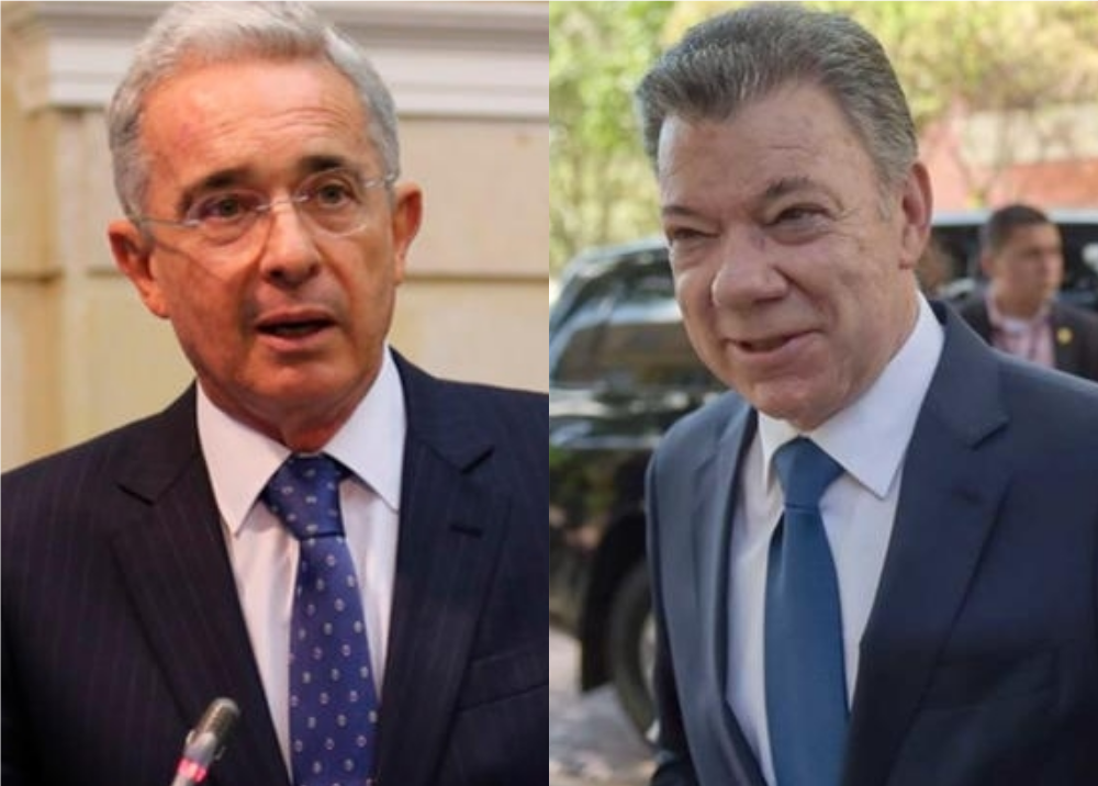 351654_BLU Radio. Álvaro Uribe y Juan Manuel Santos // Foto: AFP