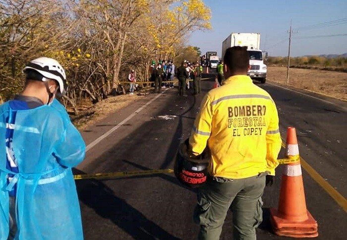 accidente cesar hinchas de millonarios cuerpo de bomberos de El Copey-.jpg