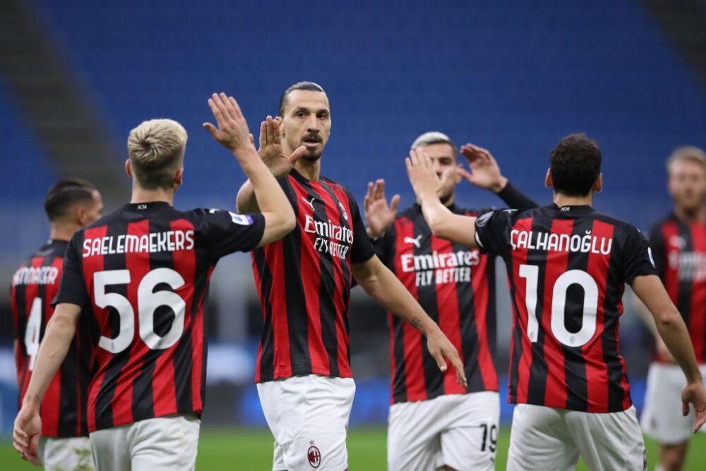 Zlatan Ibrahimovic celebra Inter vs Milan