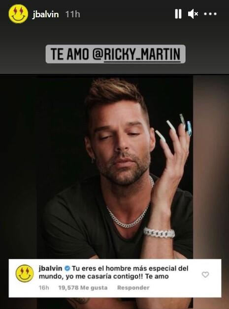 apoyo de J Balvin a Ricky Martin.