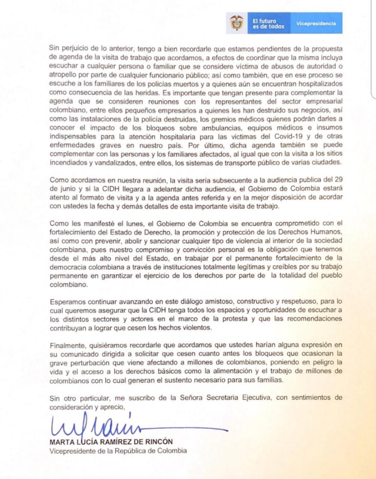 2Documento Gobierno a María Claudia Pulido (CIDH)