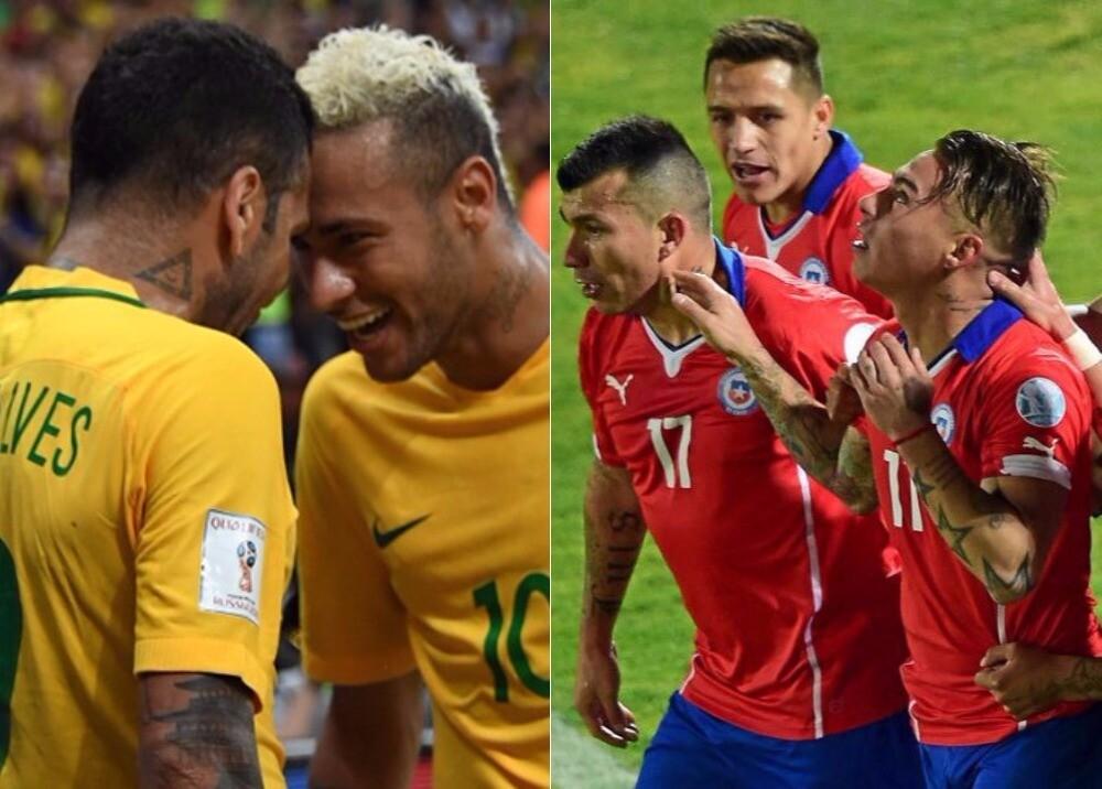 293439_Selecciones de Brasil y Chile - Fotos: AFP