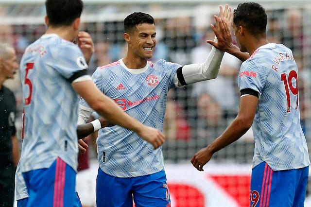 Celebración de Cristiano Ronaldo, tras su gol con Manchester United