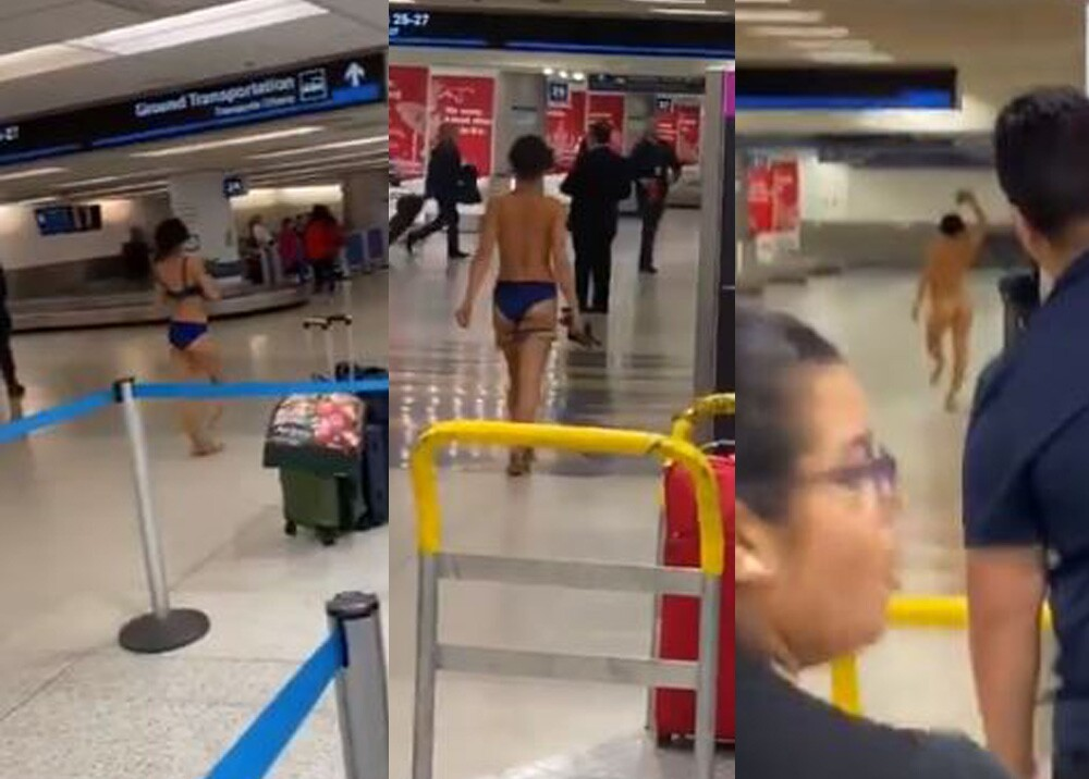 20468_Mujer se desnudó en el aeropuerto de Miami - Foto Twitter