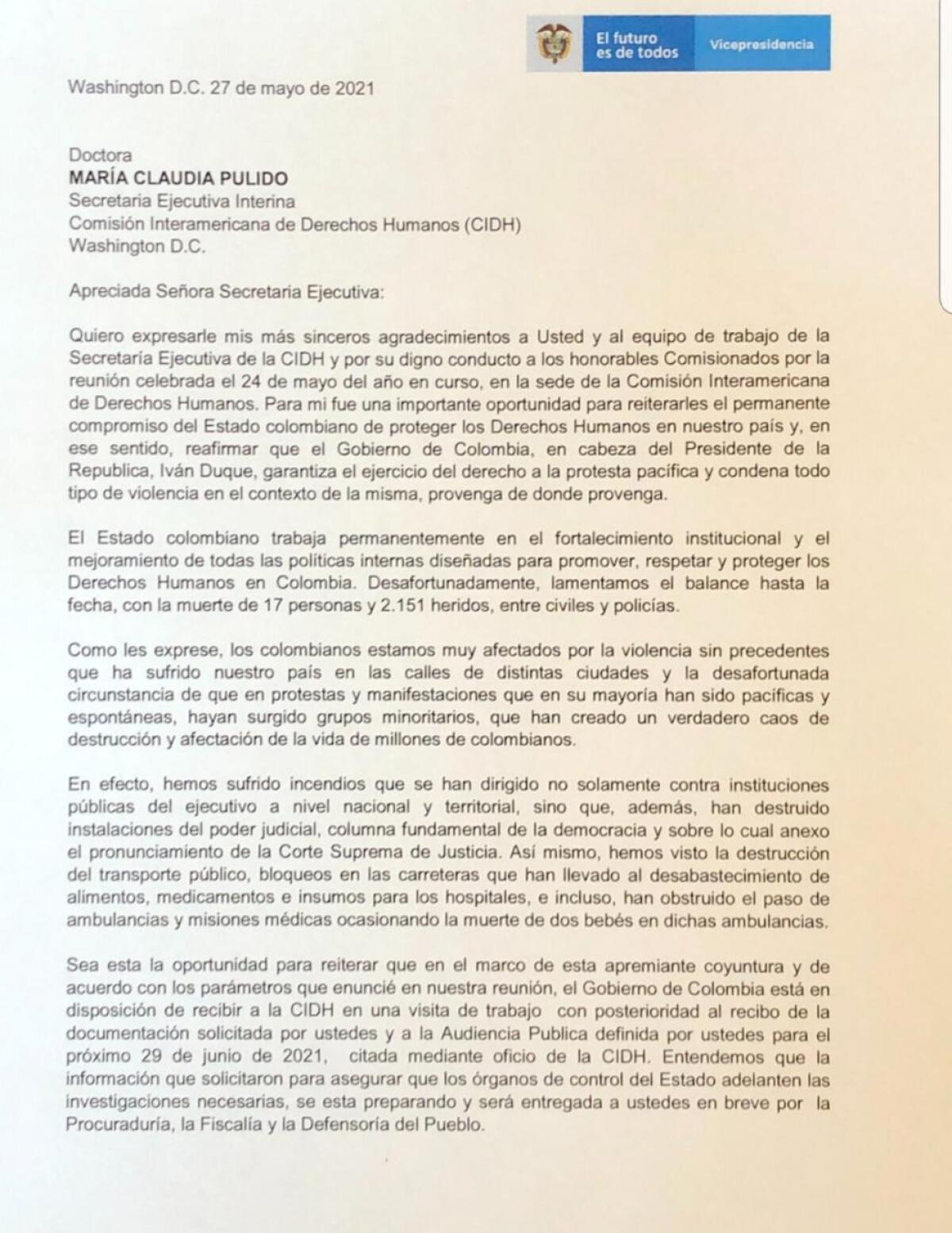 Documento Gobierno a María Claudia Pulido (CIDH)