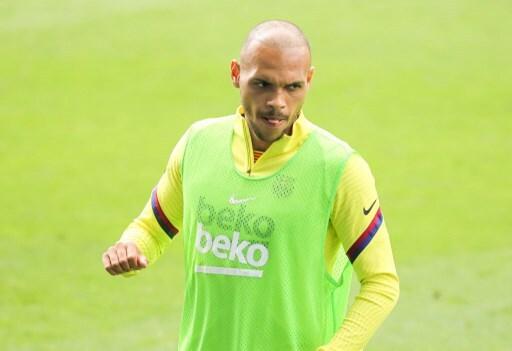 Martin Braithwaite entrenando con Barcelona
