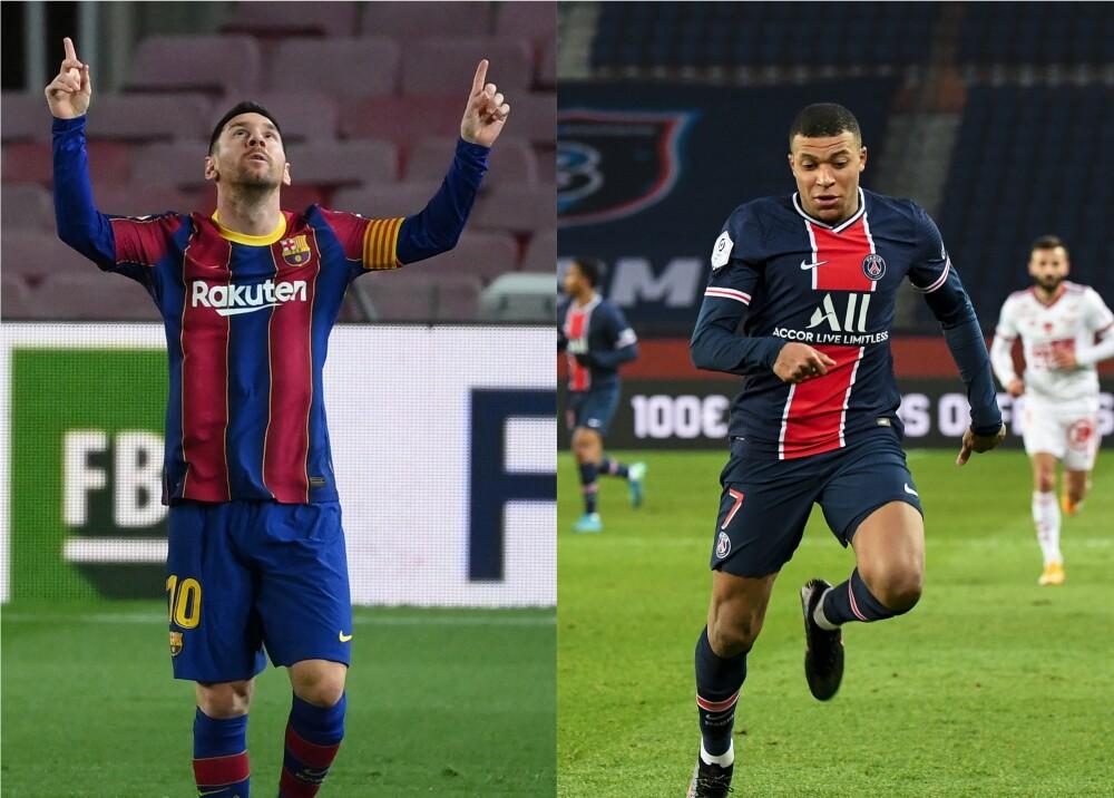 Messi y Mbappé. Fotos: AFP