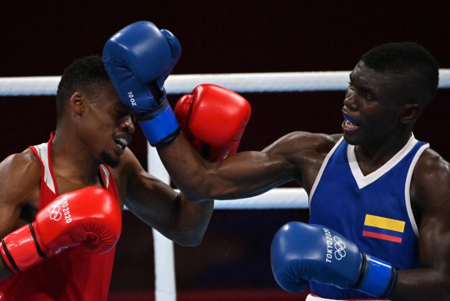 Yuberjen Martínez se impuso en su primer combate en los Juegos Olímpicos de Tokio 2020.