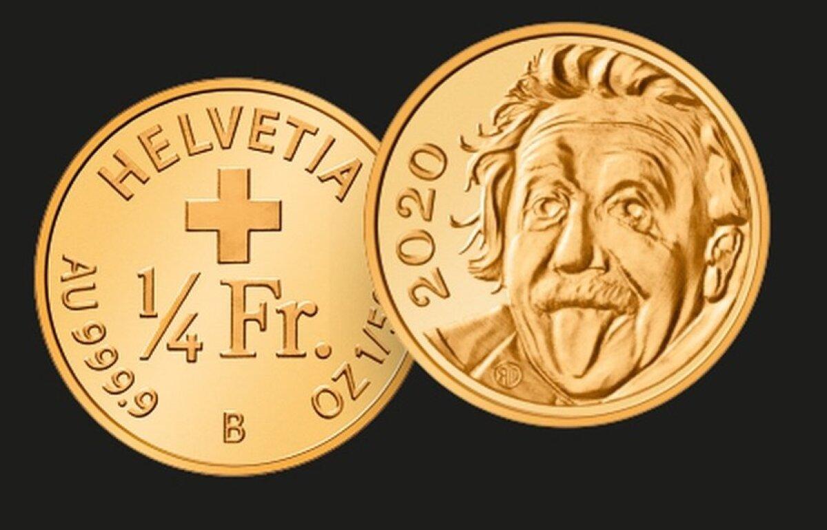 Acuñan en Suiza la moneda más pequeña del mundo con la imagen de Albert  Einstein sacando la lengua
