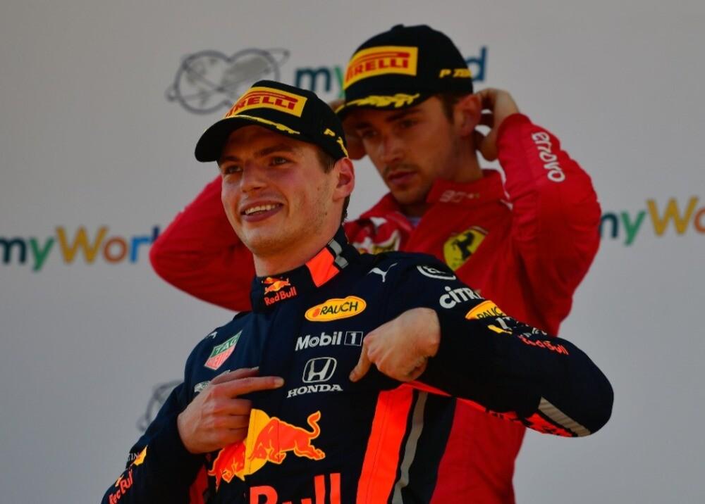369745_Max Verstappen y Charles Leclerc, Austria 2019 / Foto: AFP