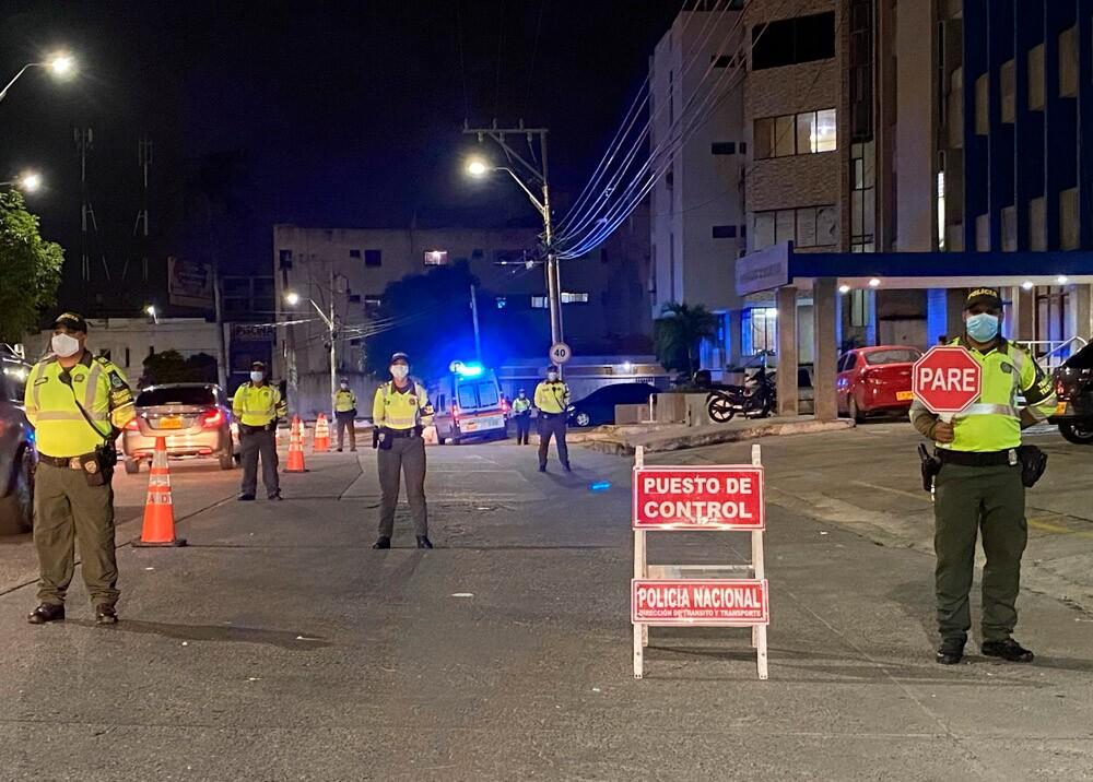 Controles policiales durante la pandemia en Barranquilla