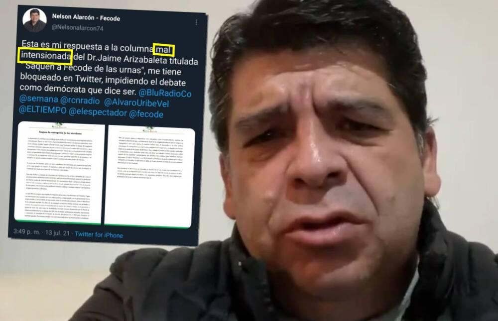 Críticas por error de ortografía de vocero de Fecode, Nelson Alarcón, en Twitter
