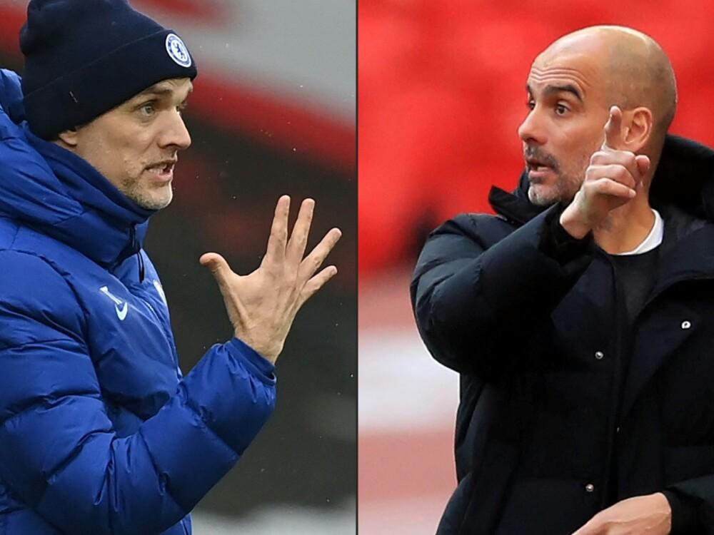 Thomas Tuchel, técnico de Chlesea y Pep Guardiola, entrenador del Manchester City. AFP.jpg