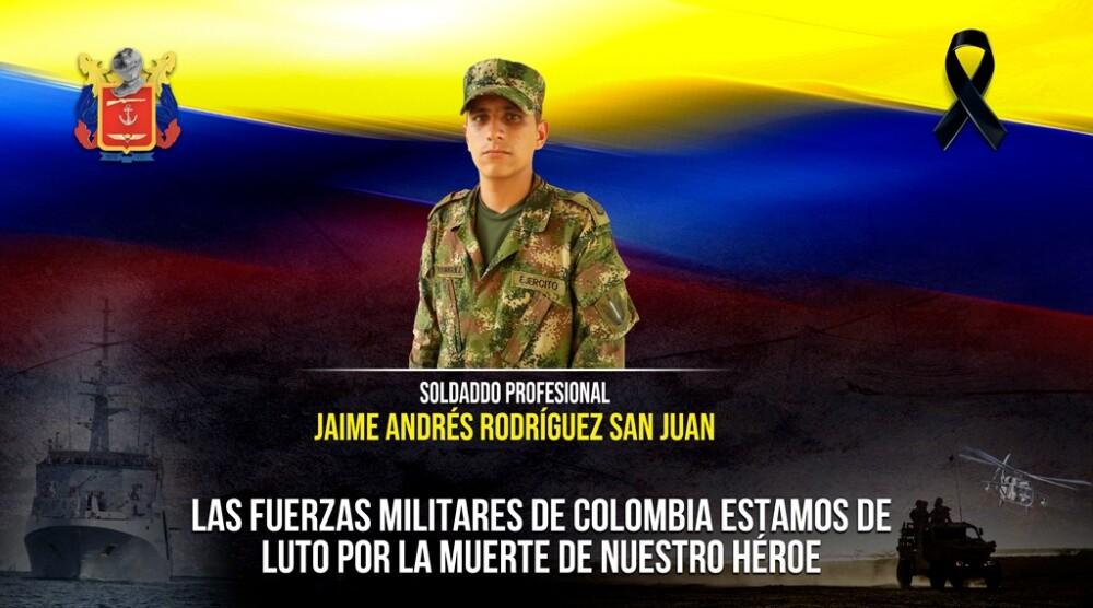 Soldado profesional Jaime Andrés Rodríguez San Juan que murió tras pisar una mina antipersonal