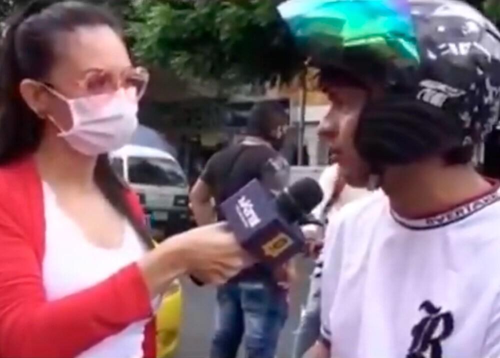 371153_Insólita respuesta de joven sin tapabocas en Cúcuta // Foto: captura video