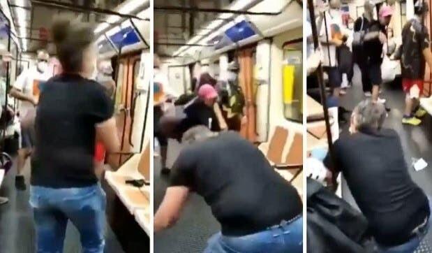 Discusión en metro, viral.