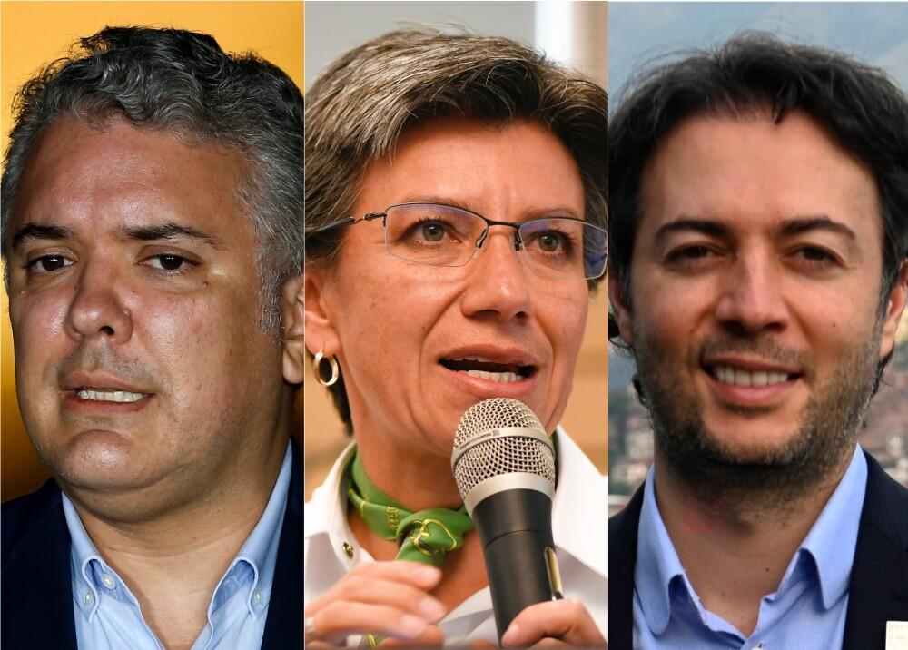 Iván Duque, Claudia López y Daniel Quintero. Fotos: AFP