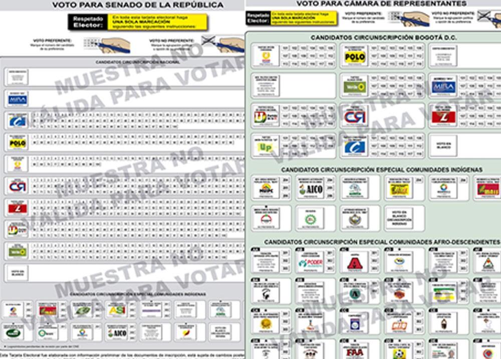 Tarjeta electoral para Senado y Cámara. Foto Registraduría.jpg