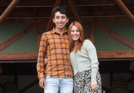 Egan Bernal junto a su novia María Fernanda Motas.