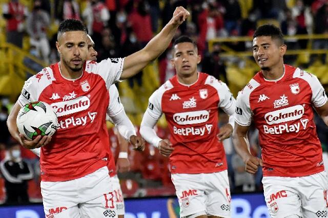 Celebración de Kelvin Osorio, tras su gol contra Nacional