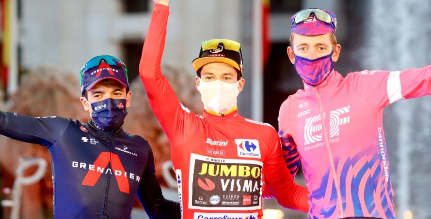 Richard Carapaz (subcampeón), Primoz Roglic (campeón) y Hugh Carthy (tercero), podio de la Vuelta a España 2020.