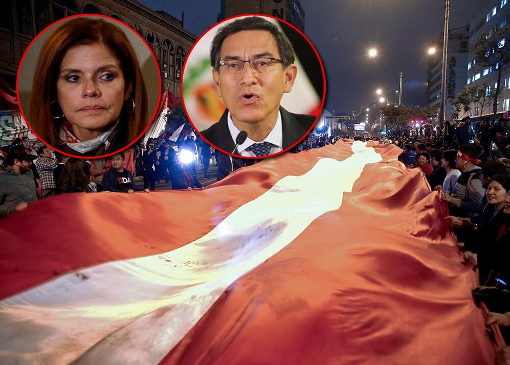 344768_Mercedes Aráoz (izq.) y Martín Vizcarra, protagonistas del choque de poderes en Perú // Fotos: AFP