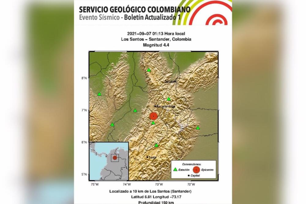 Temblor Los Santos, Santander 7 de septiembre