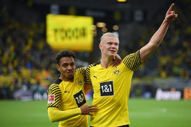 Celebración de Erling Haaland, tras su gol con Borussia Dortmund