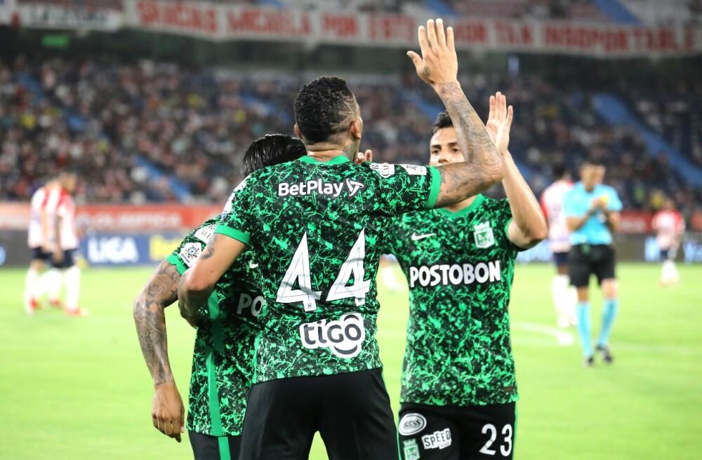 Celebración de Atlético Nacional, tras su gol contra Junior de Barranquilla