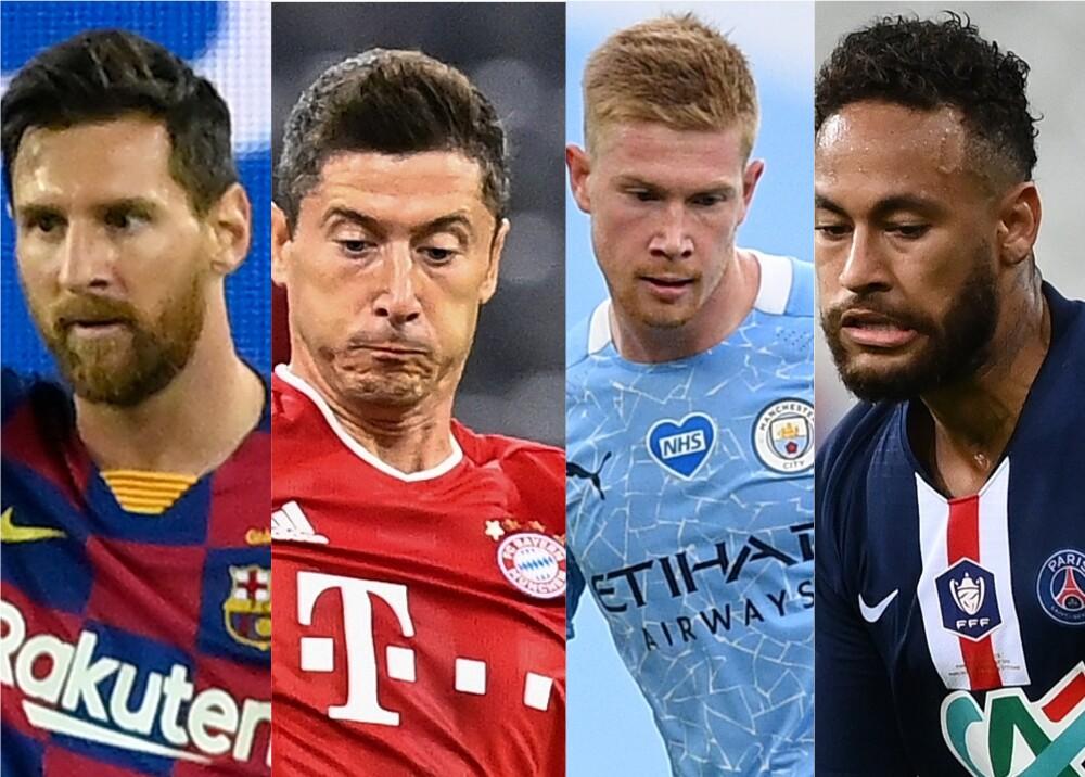 373727_Messi, Lewandowski, De Bruyne, Neymar / Fotos AFP