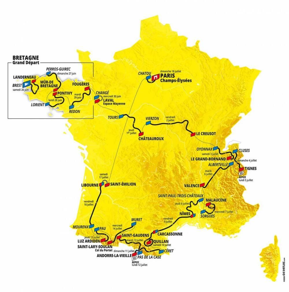 Así es el recorrido del Tour de Francia 2021.