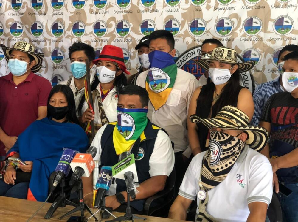 Representantes de la Minga indígena en Antioquia.