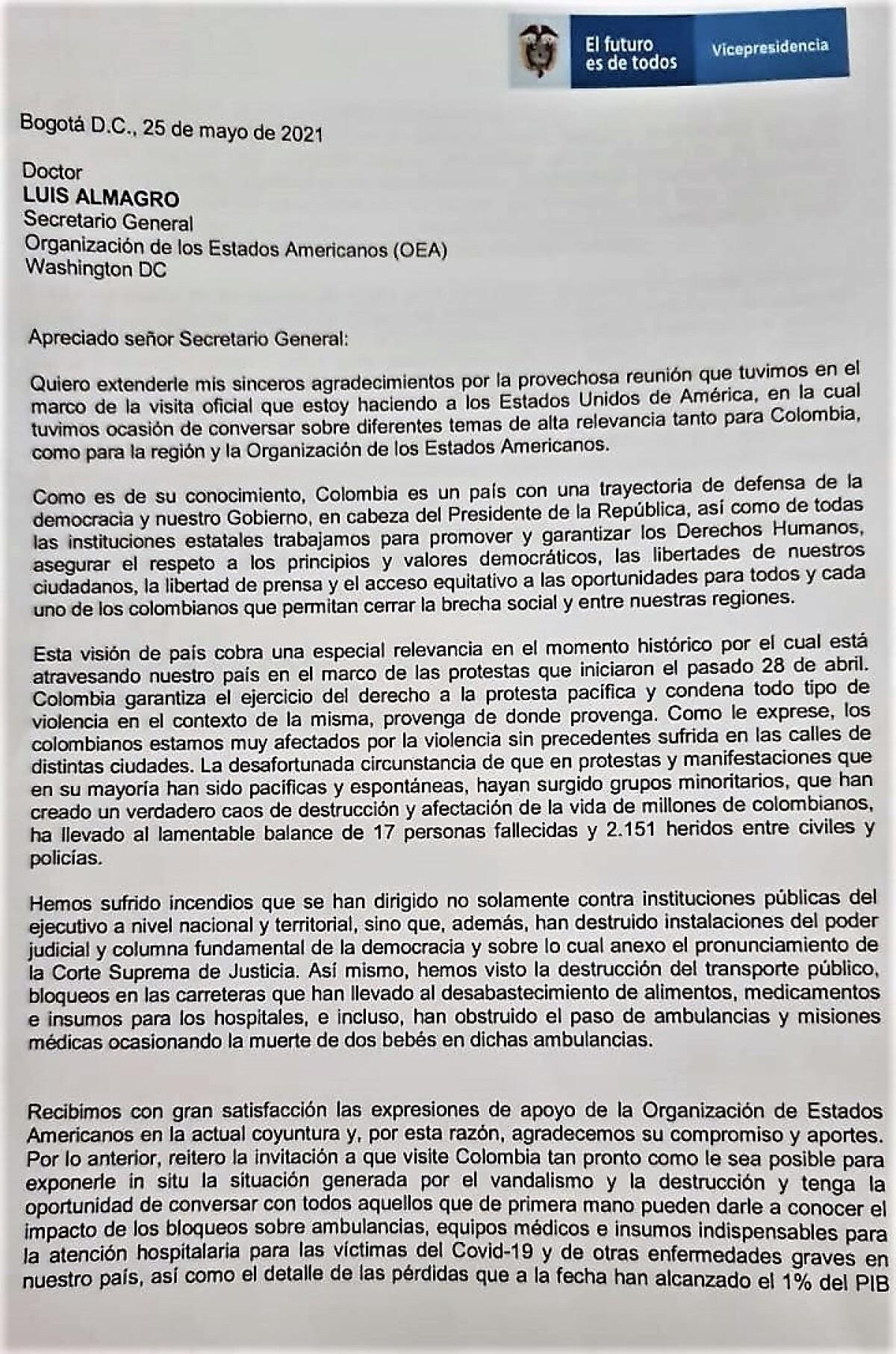Documento Gobierno a Luis Almagro (OEA)