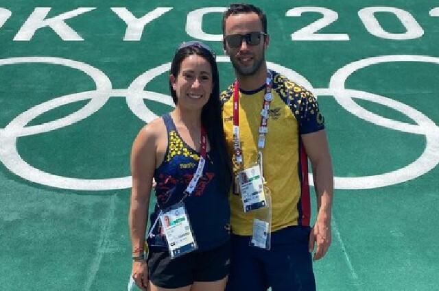 Vincent Pelluard y Mariana Pajón, en los Juegos Olímpicos de Tokio