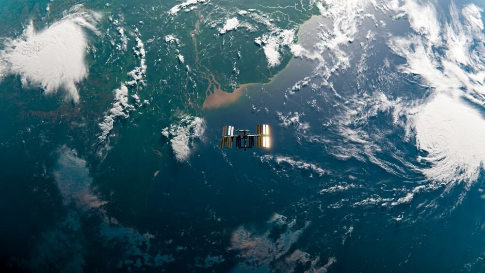 International Space Station (ISS) Orbit in Space over Amazon River - SpaceX & NASA Research - 3D Rendering