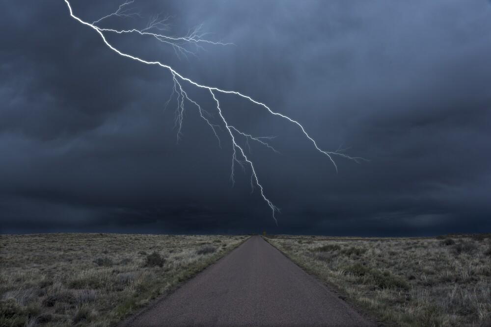 Lightning over roadway