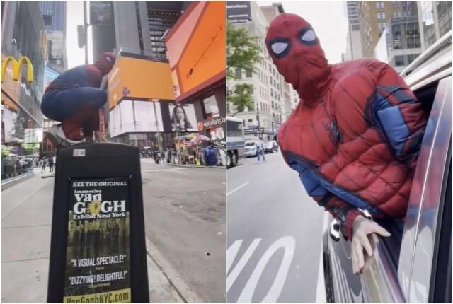 J Balvin disfrazado de Spider-man en Nueva York.